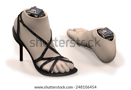 Foot-ankle prosthesis with shell isolated on white - stock photo