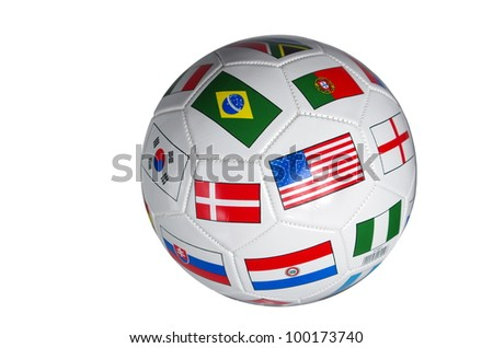foot ball with flags of stateson white background