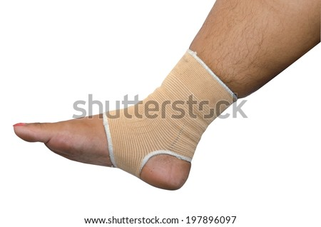 Foot bandage isolated white background.