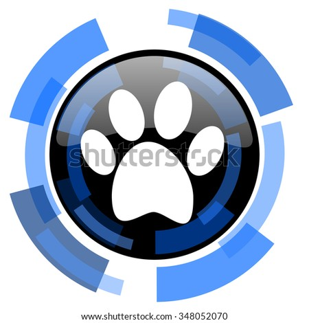 foot black blue glossy web icon - stock photo