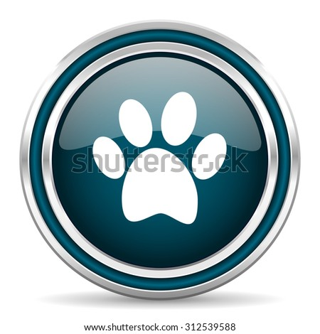 foot blue glossy web icon with double chrome border on white background with shadow    - stock photo
