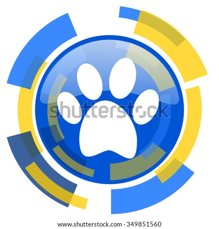 foot blue yellow glossy web icon - stock photo