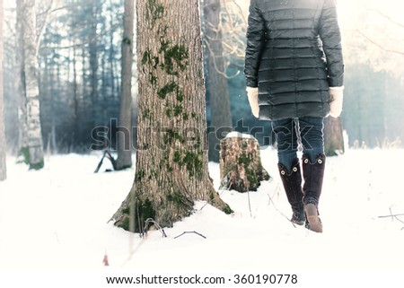 foot boot woman winter snow  - stock photo