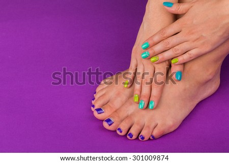 Foot care, care of the nails, pedicure. - stock photo