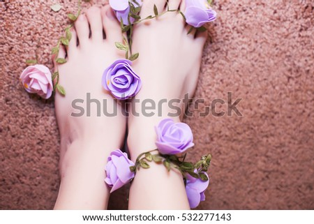 foot feet with flowers