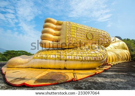 Foot for buddha statue  in Thailand Temple - stock photo