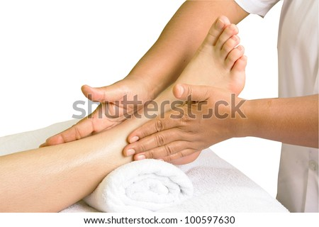 foot massage, spa foot oil treatment  in white background - stock photo