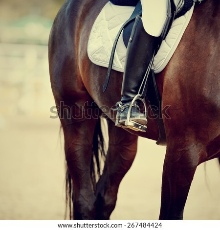 Foot of the athlete in a stirrup astride a sports horse - stock photo
