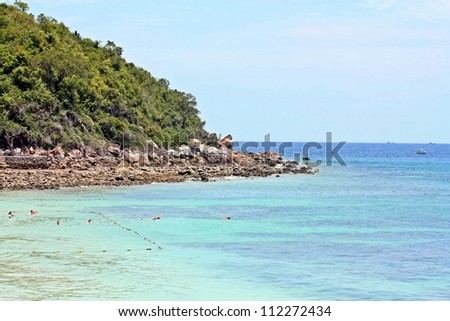 Foot of the hill into the sea water at coral island  or Koh Larn  ,Pattaya Thailand - stock photo