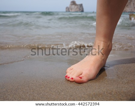 Foot on the shore