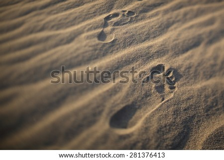 Foot prints in the sand in Blur style