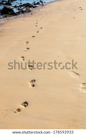 foot prints on golden beach sand at sunset