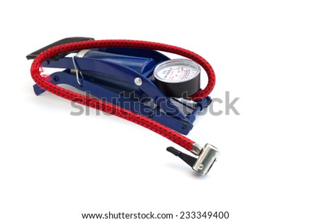 Foot pump isolated on white background - stock photo