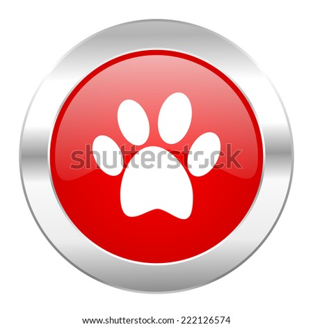 foot red circle chrome web icon isolated  - stock photo