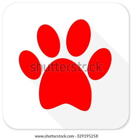 foot red flat icon with long shadow on white background - stock photo