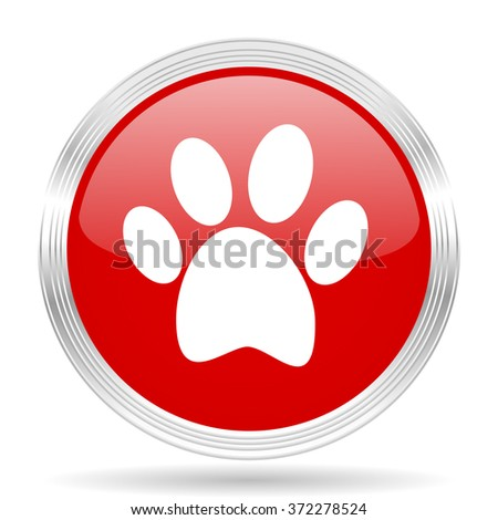 foot red glossy circle modern web icon on white background - stock photo