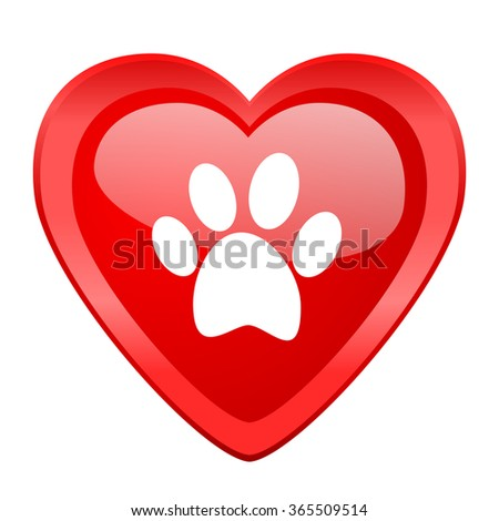 foot red heart valentine glossy web icon - stock photo