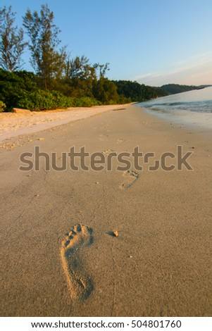 Foot steps on the beach at Koh Adang (Adang Island), Lipe Island, Tarutao National Marine Park, Satun Province, the southern part of Thailand
