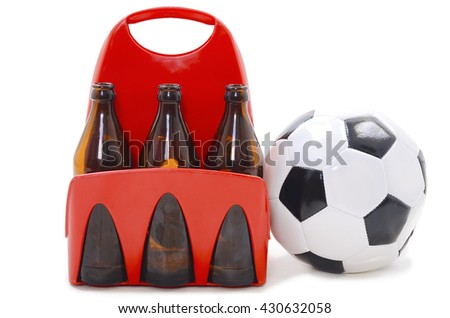 Football and beer. Isolated on white background - stock photo