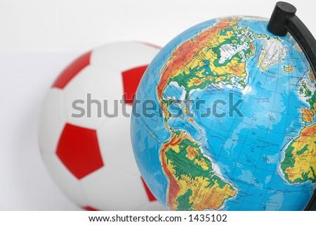 football and globe... - stock photo