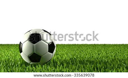 Football and grass, isolated on white background.