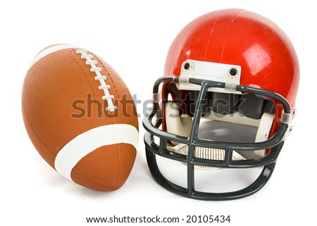 Football and helmet isolated on a white background. - stock photo