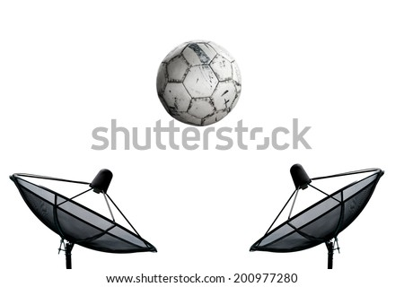 football and Satellite dish isolate on the white background