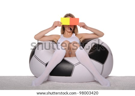 Football and soccer supporter with red and yellow cards on white background - stock photo