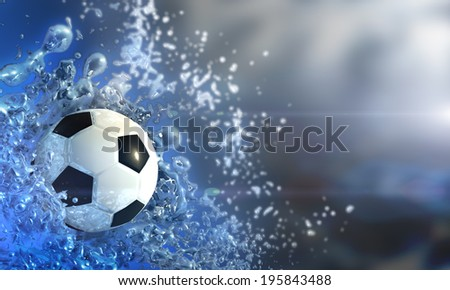 football and water splash - stock photo