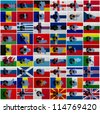 Football ball and national flags of all european countries - stock photo