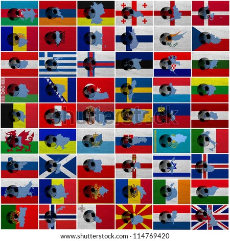 Football ball and national flags of all european countries