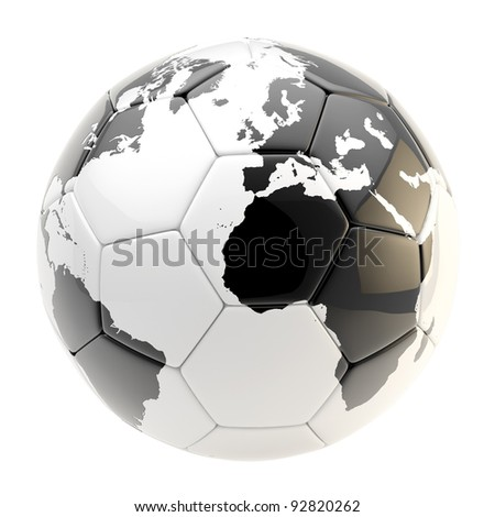 Football ball as a glossy Earth planet sphere isolated on white - stock photo