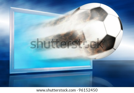 Football ball go out through the blue screen. Allegory with popular game and reportage about it. - stock photo