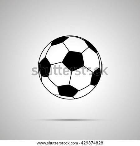Football ball simple black icon with shadow - stock photo