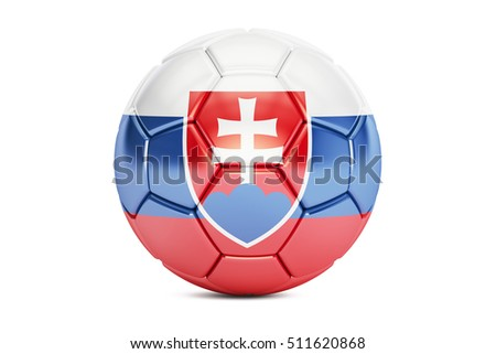 football ball with flag of Slovakia, 3D rendering