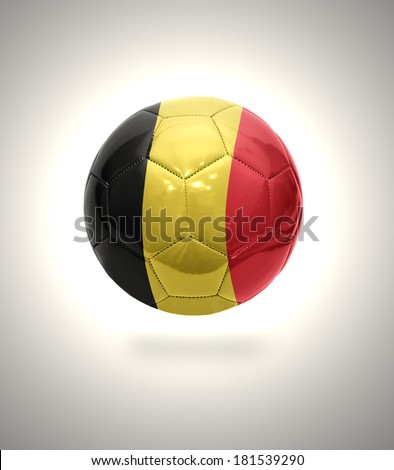 Football ball with the national flag of Belgium on a gray background - stock photo