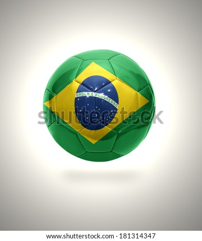 Football ball with the national flag of Brazil on a gray background