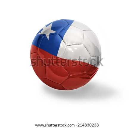 Football ball with the national flag of Chile on a white background - stock photo