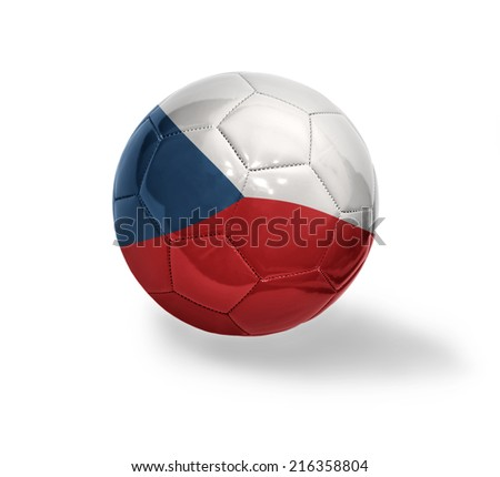 Football ball with the national flag of Czech Republic on a white background