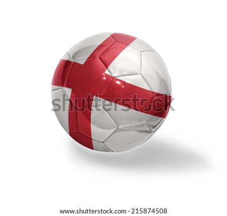 Football ball with the national flag of England on a white background - stock photo