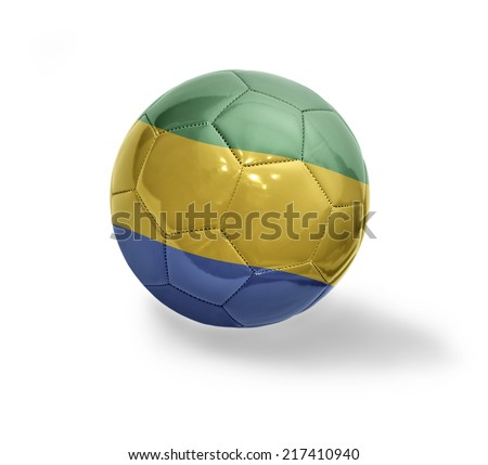 Football ball with the national flag of Gabon on a white background - stock photo