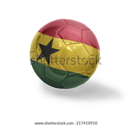 Football ball with the national flag of Ghana on a white background - stock photo
