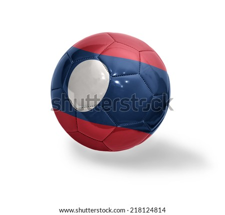 Football ball with the national flag of Laos on a white background
