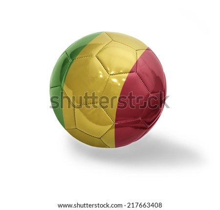 Football ball with the national flag of Mali on a white background - stock photo