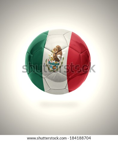 Football ball with the national flag of Mexico on a gray background - stock photo