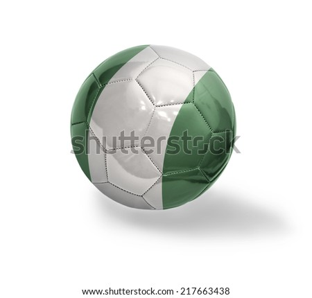 Football ball with the national flag of Nigeria on a white background - stock photo