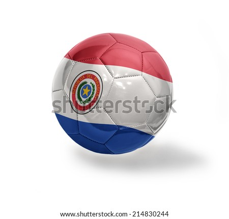 Football ball with the national flag of Paraguay on a white background