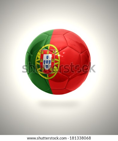 Football ball with the national flag of Portugal on a gray background - stock photo