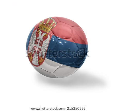 Football ball with the national flag of Serbia on a white background - stock photo