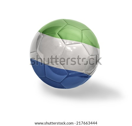 Football ball with the national flag of Sierra Leone on a white background - stock photo